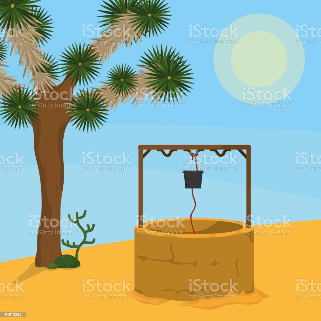 Ilustración de Pozo De Agua En El Desierto y más banco de imágenes ...