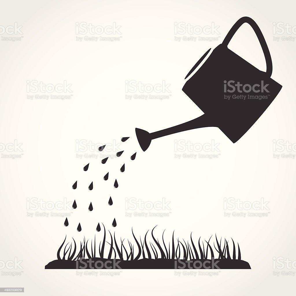 Gießkanne und Rasen – Vektorgrafik