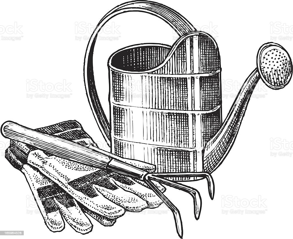 Watering Can and Work Gloves with Rake vector art illustration