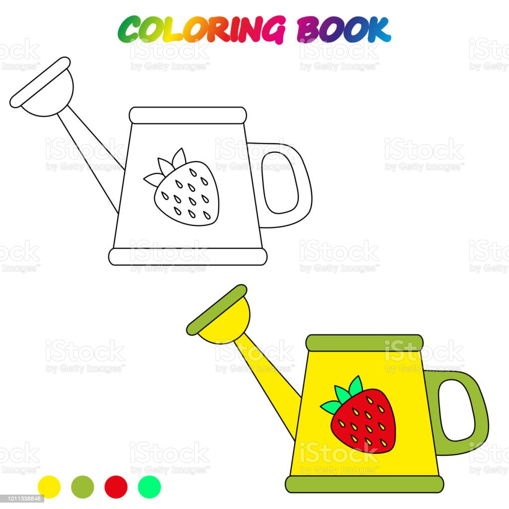 Watering Can Coloring Book Coloring Page To Educate Preschool Kids ...