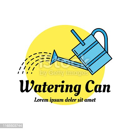 Watering can colorful icon. Line art design concept. Can be used as a garden shop or horticultural market sign. EPS 10 vector illustration isolated on white.