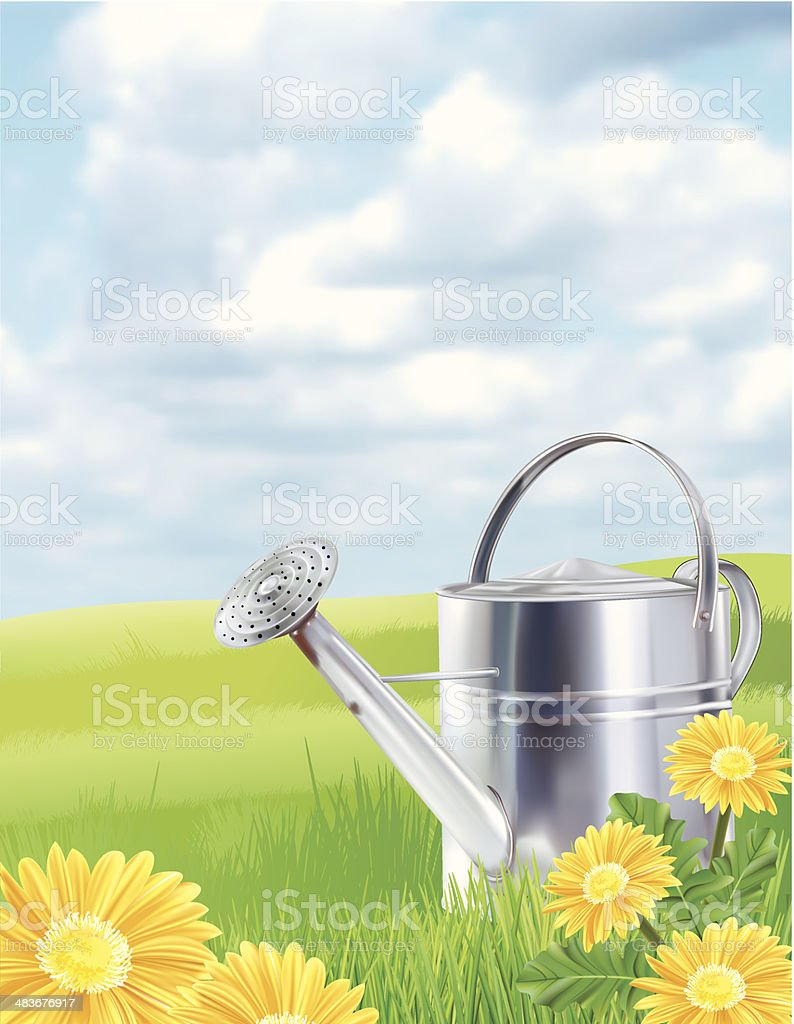 Watering Can On A Grassy Hill vector art illustration