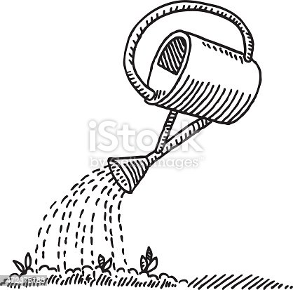 istock Watering Can Seed Drawing 472375183