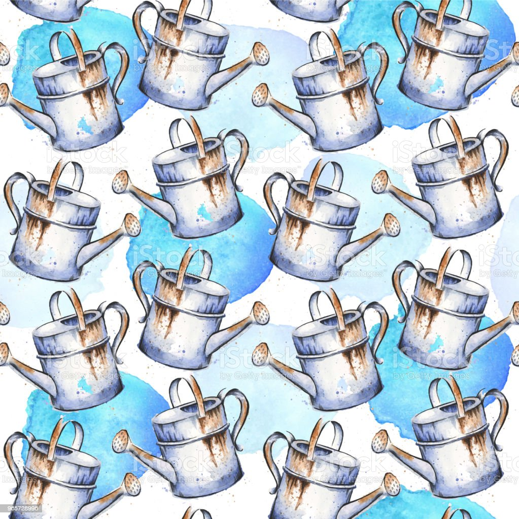 Watering Can Watercolor and Ink Drawing in Seamless Pattern - Royalty-free Abstract stock illustration