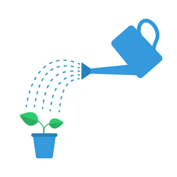 watering can with drops and plant - watering stock illustrations