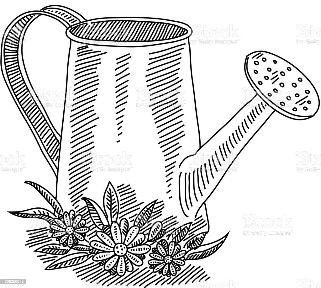 Gießkanne Mit Blumen Zeichnen Stock Vektor Art Und Mehr Bilder Von