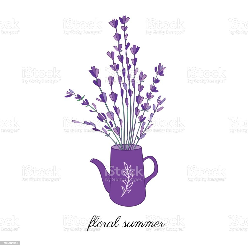 Watering Can With Lavender Flower Bouquet Hand Drawn Vector Doodle