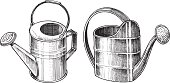"""Watering cans. Pen and ink illustrations of Watering Cans - Gardening Equipment. Check out my """"Garden & Yard Tools"""" light box for more."""