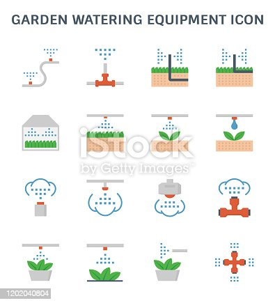 Garden watering equipment and sprinkler icon set for automatic sprinkler system graphic design element.