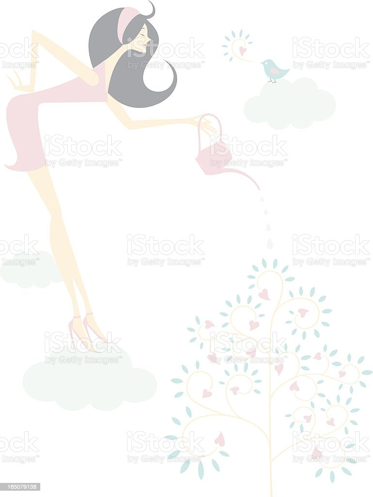 Watering in the Sky royalty-free stock vector art