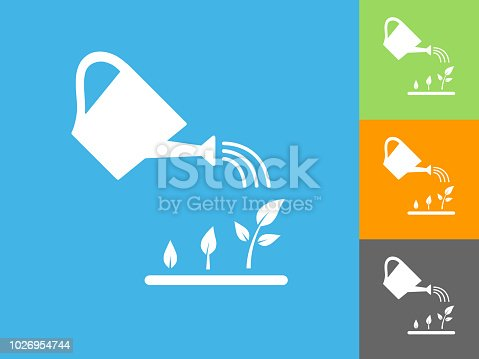 Watering Plants Flat Icon on Blue Background. The icon is depicted on Blue Background. There are three more background color variations included in this file. The icon is rendered in white color and the background is blue.