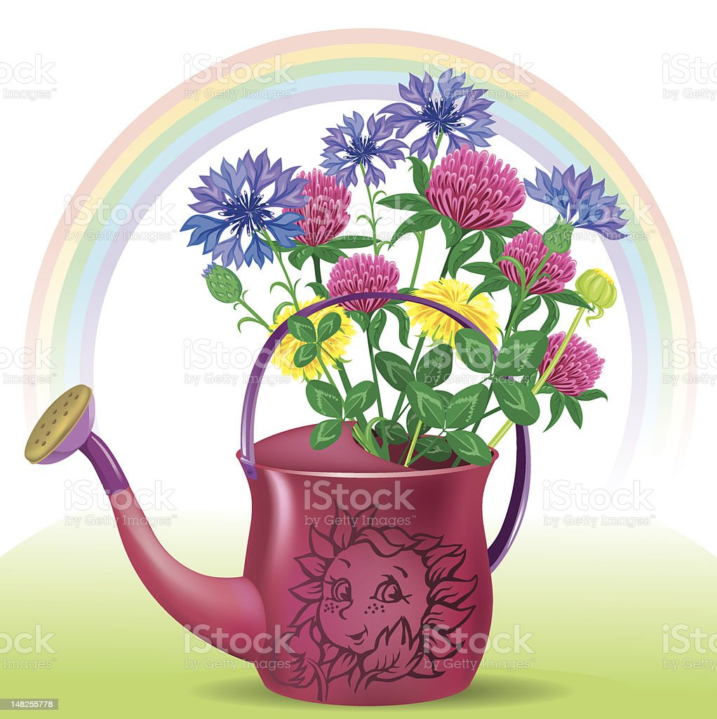 Watering with bouquet of wildflowers stock vector art more images watering with bouquet of wildflowers royalty free watering with bouquet of wildflowers stock vector art izmirmasajfo