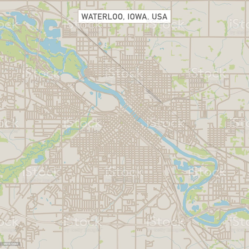 Waterloo Iowa Us City Street Map Stock Illustration - Download Image