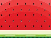 Watermelon abstract background with black seeds. Concept of Hello Summer. Fruit background, vector