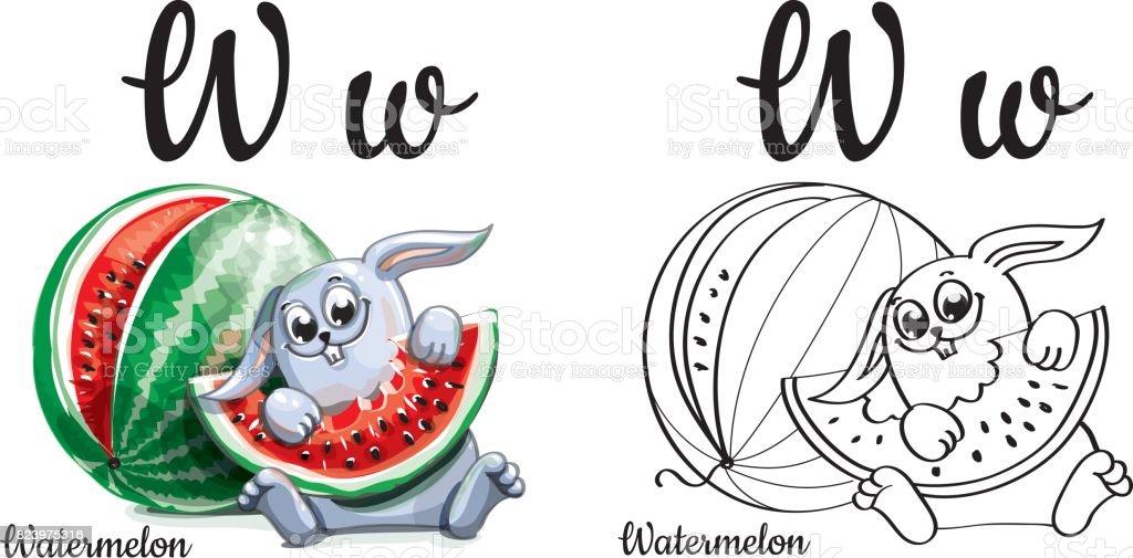 Ilustración de Sandía Letra Del Alfabeto W Página Para Colorear y ...