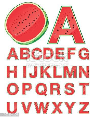 Vector Watermelon Alphabet