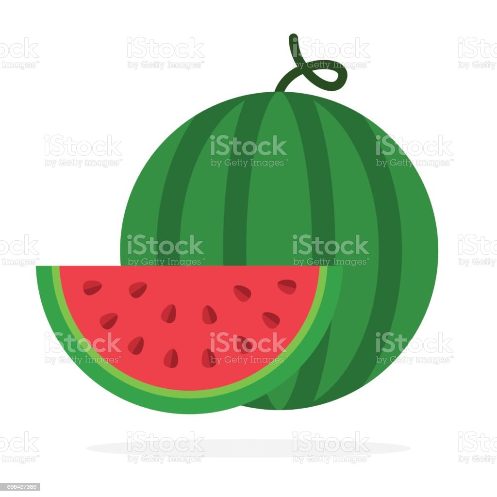Watermelon and a slice of watermelon vector art illustration