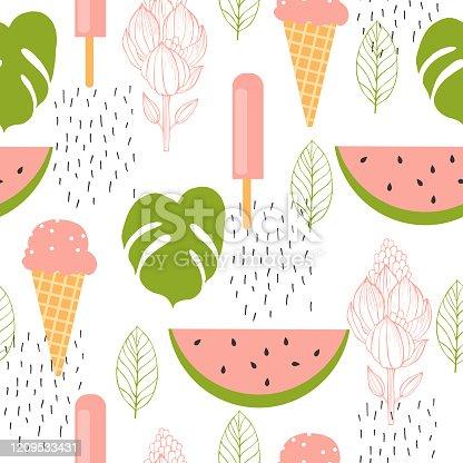 istock Watermelon and ice cream. Vector seamless  pattern. 1209533431