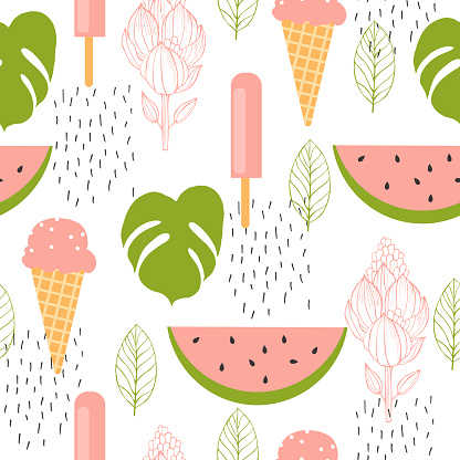Watermelon and ice cream. Vector seamless  pattern.