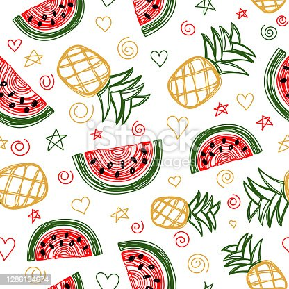 Watermelon and pineapple seamless pattern. Hand drawn vector illustration. Pen or marker doodle sketch. Line art fruits silhouettes. Repeat contour drawing.