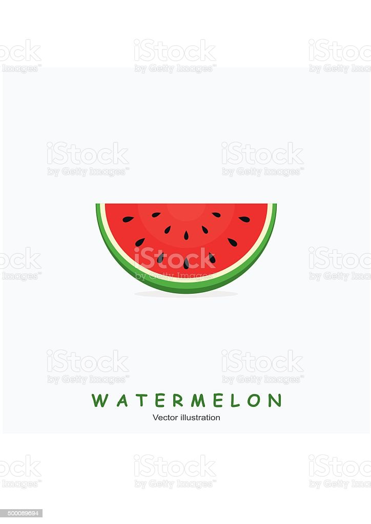 Watermelon and text on white background. vector art illustration