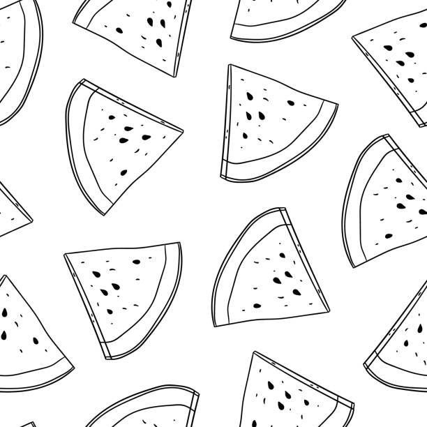 Watermelon Coloring Page Illustrations, Royalty-Free ...