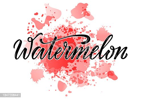 istock Watermelon black lettering on red watercolor background 1347208441