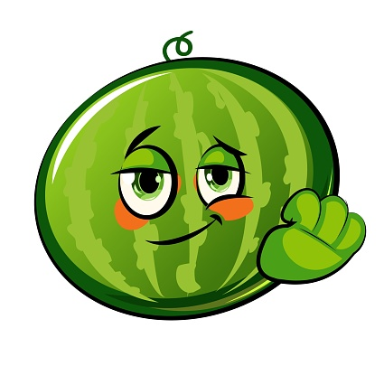Watermelon cartoon. Comical face. Vector illustration. Fruit with eyes.