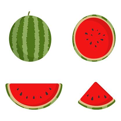 Watermelon Cartoon Icon Set Vector Design.