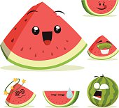 Cartoon watermelon set including: