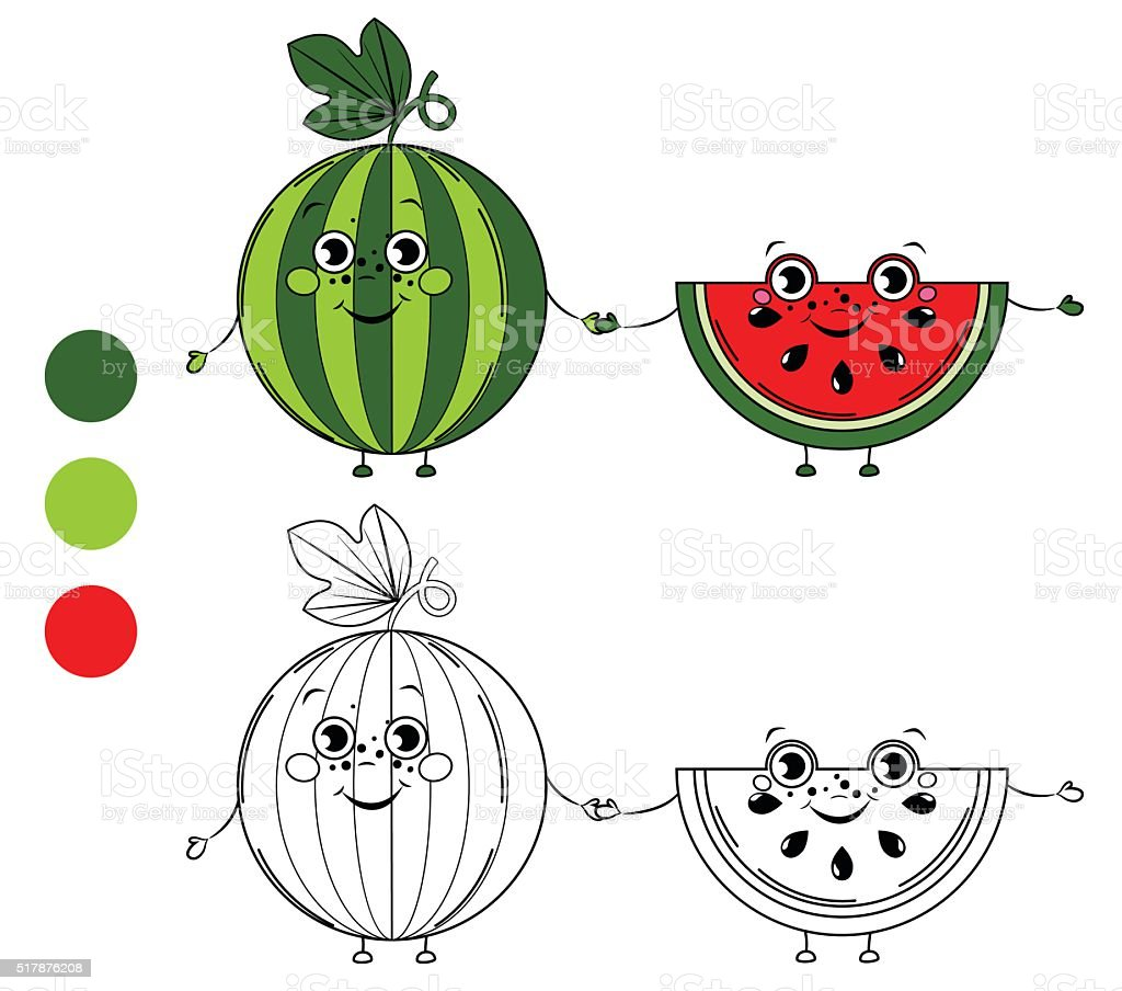 Vetores De Melancia Livro De Colorir Pagina Desenhos Animados