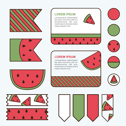 Watermelon design template and elements