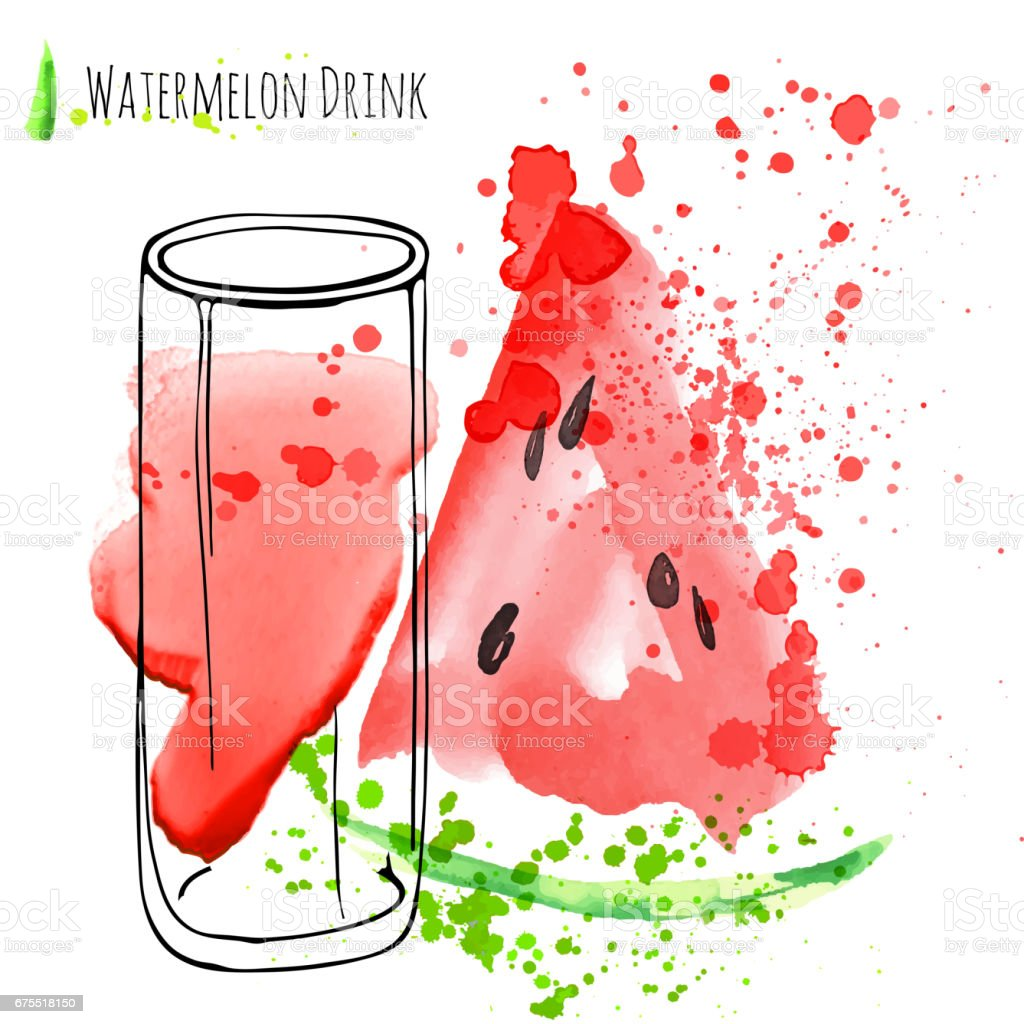 Watermelon drink with slice of watermelon. Fresh juice in glass with watermelon peace. Watercolor hand draw art work. royalty-free watermelon drink with slice of watermelon fresh juice in glass with watermelon peace watercolor hand draw art work stok vektör sanatı & arka planlar'nin daha fazla görseli