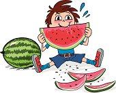 Vector illustration of boy eating watermelon.