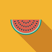 A colored flat design summer and beach icon with a long side shadow. Color swatches are global so it's easy to edit and change the colors.