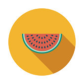 istock Watermelon Flat Design Summer Icon with Side Shadow 969223854