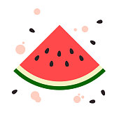 Illustration of watermelon with some loose seeds and juice drips