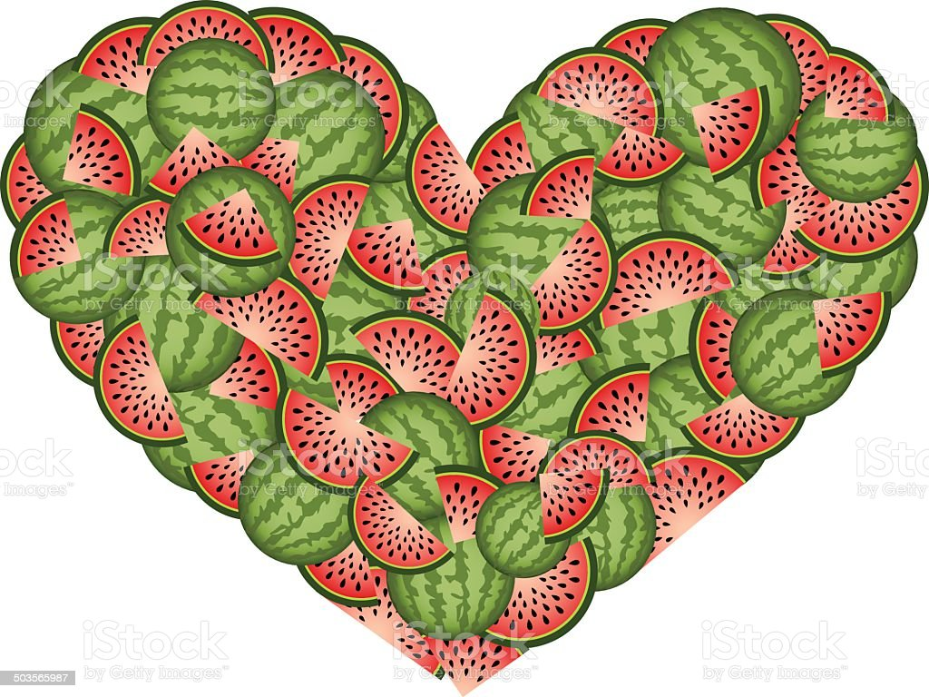 Watermelon Heart Shaped royalty-free stock vector art