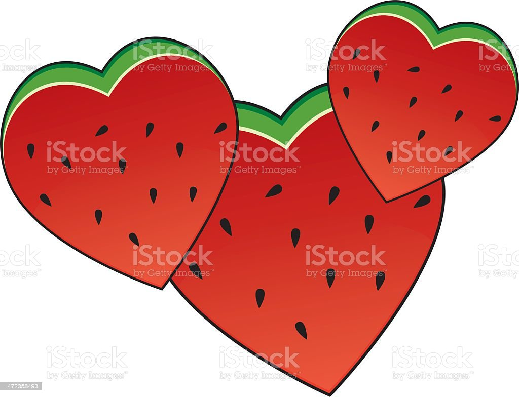 Watermelon Hearts royalty-free stock vector art