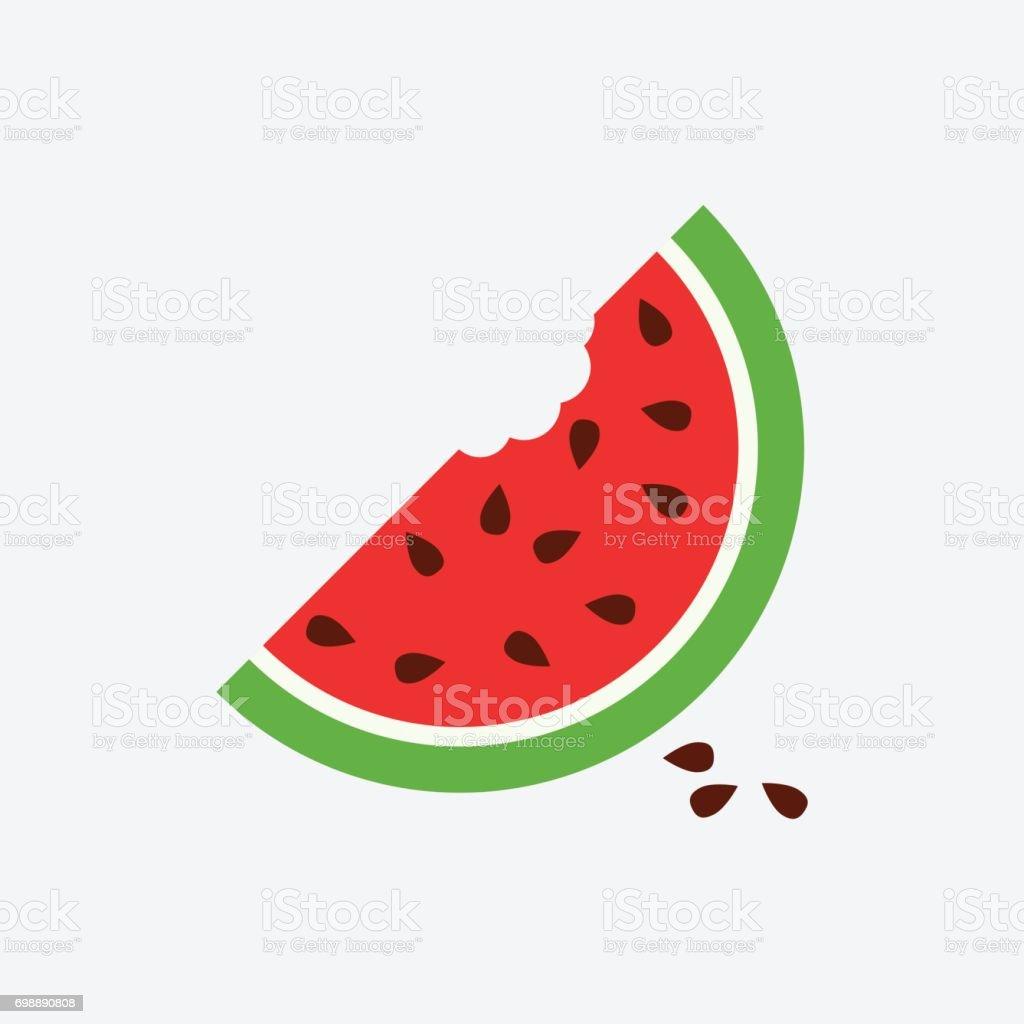 Watermelon icon. Juicy ripe fruit on white background - illustrazione arte vettoriale
