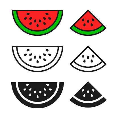 Watermelon icon set, vector. Color, black and outline isolated symbol