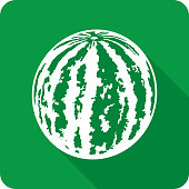 Vector illustration of a green watermelon icon in flat style.