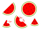 Watermelon icons - vector set. Vector water melon. Slice fruit isolated on white background