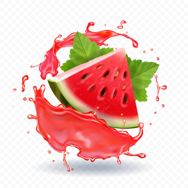 Watermelon juice vector realistic illustration Watermelon in juice vector realistic icon illustration. fruit clipart stock illustrations