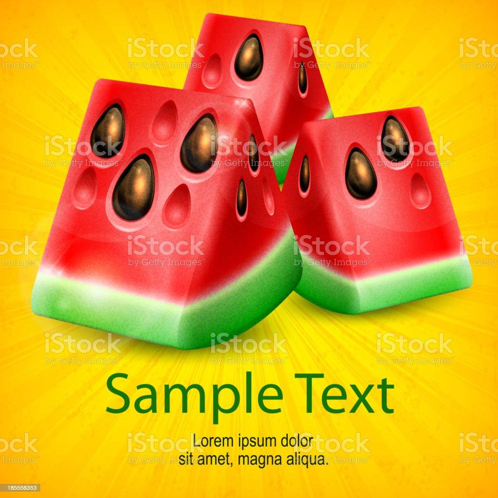 Watermelon on yellow royalty-free stock vector art
