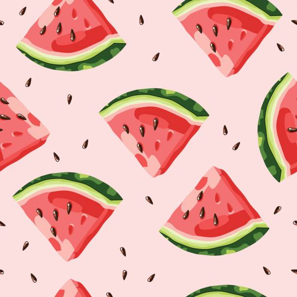 Watermelon pattern vector Watermelon pattern vector fruit backgrounds stock illustrations