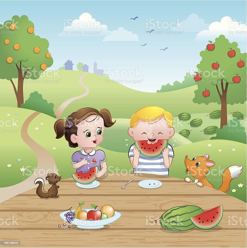 Watermelon picnic summer kids royalty-free stock vector art