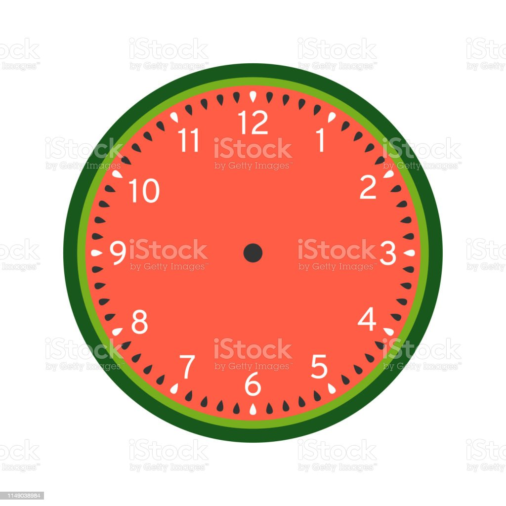 image about Watermelon Printable identified as Watermelon Printable Clock Confront Template Inventory Example