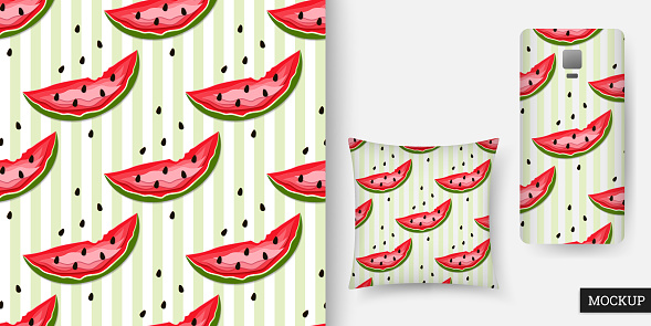 Watermelon seamless pattern. Abstract sweet background. Vector illustration.