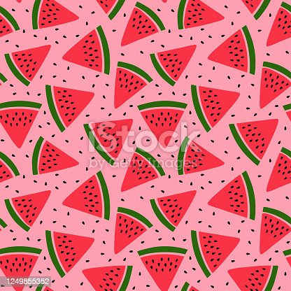 Watermelon seamless pattern. Hand drawn fresh berry slice. Vector sketch background. Red and green print for kitchen tablecloth, curtain or dishcloth. Fashion design